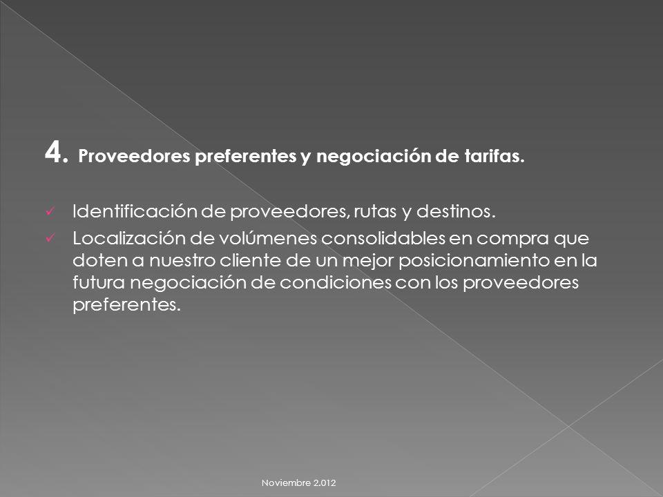 4. Proveedores preferentes y negociación de tarifas.