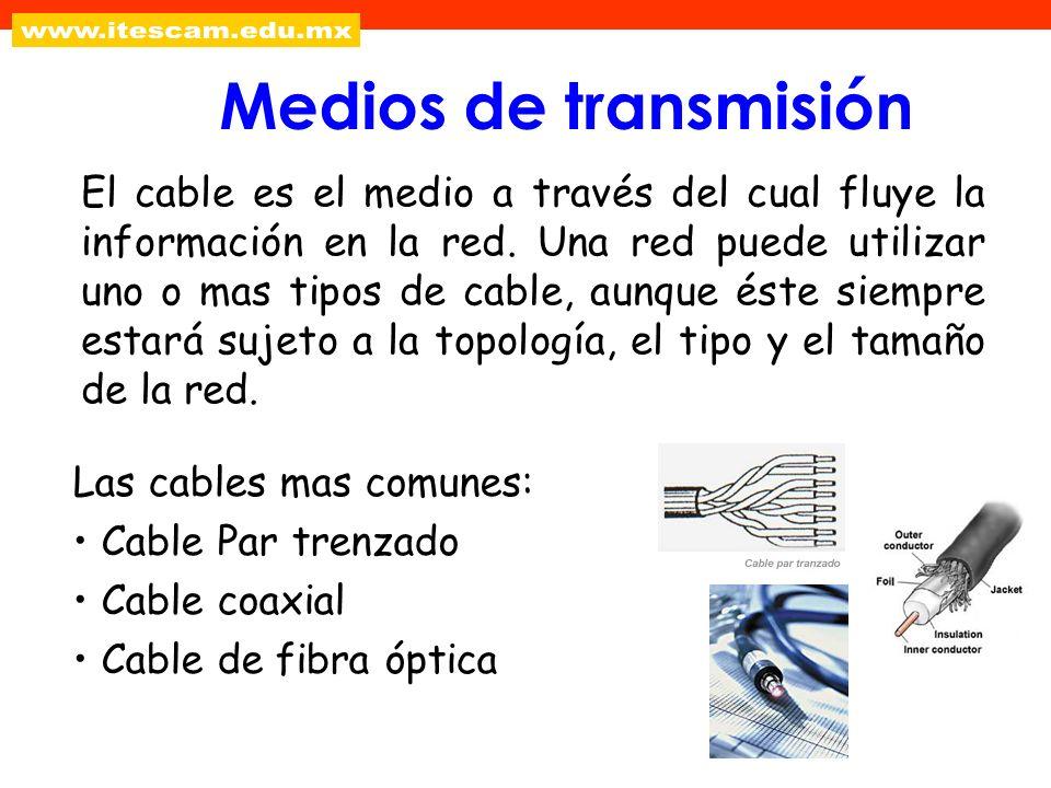 Medios de transmisión El cable es el medio a través del cual fluye la información en la red. Una red puede utilizar uno o mas tipos de cable, aunque é
