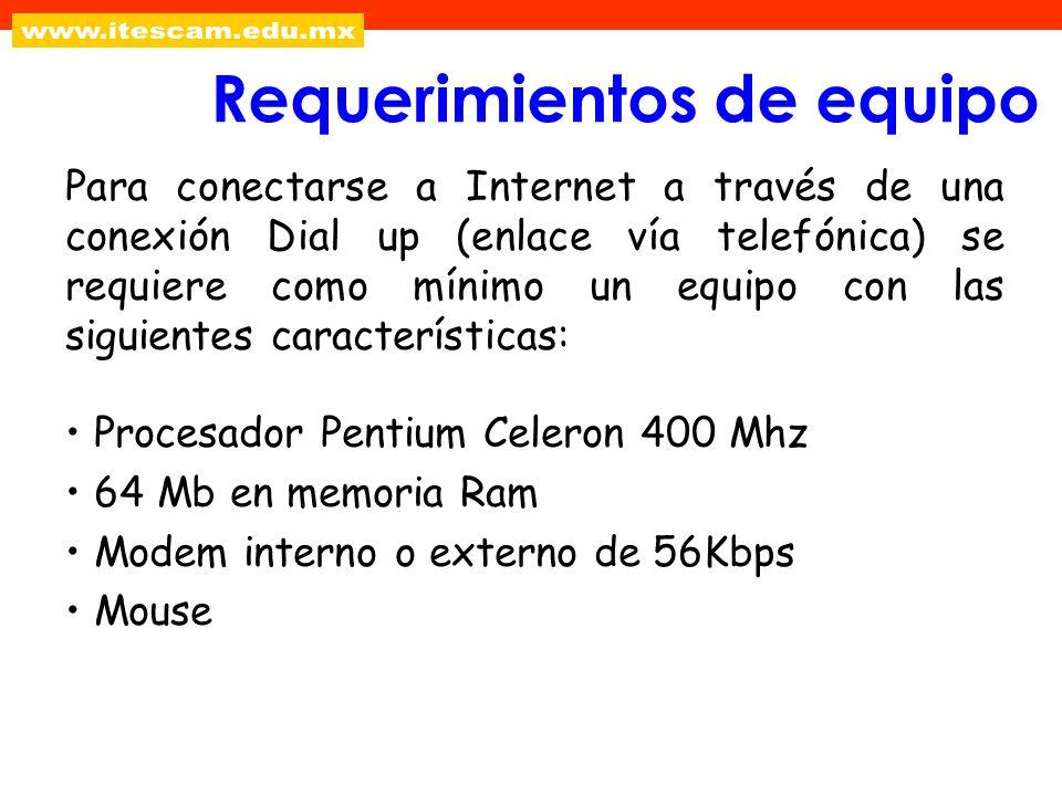 Requerimientos de equipo Para conectarse a Internet a través de una conexión Dial up (enlace vía telefónica) se requiere como mínimo un equipo con las