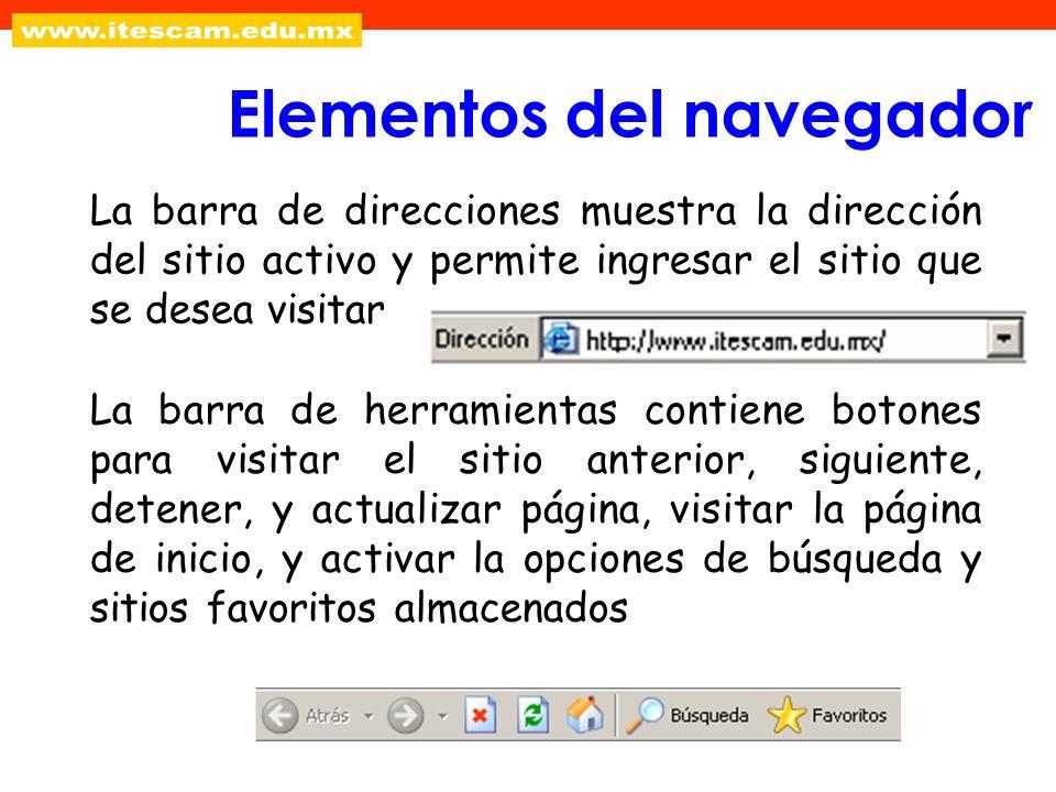 La barra de direcciones muestra la dirección del sitio activo y permite ingresar el sitio que se desea visitar Elementos del navegador La barra de her