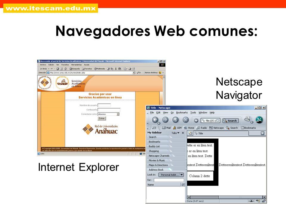 Navegadores Web comunes: Internet Explorer Netscape Navigator