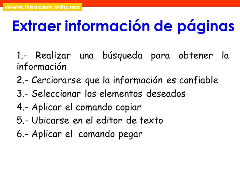 1.- Realizar una búsqueda para obtener la información 2.- Cerciorarse que la información es confiable 3.- Seleccionar los elementos deseados 4.- Aplic