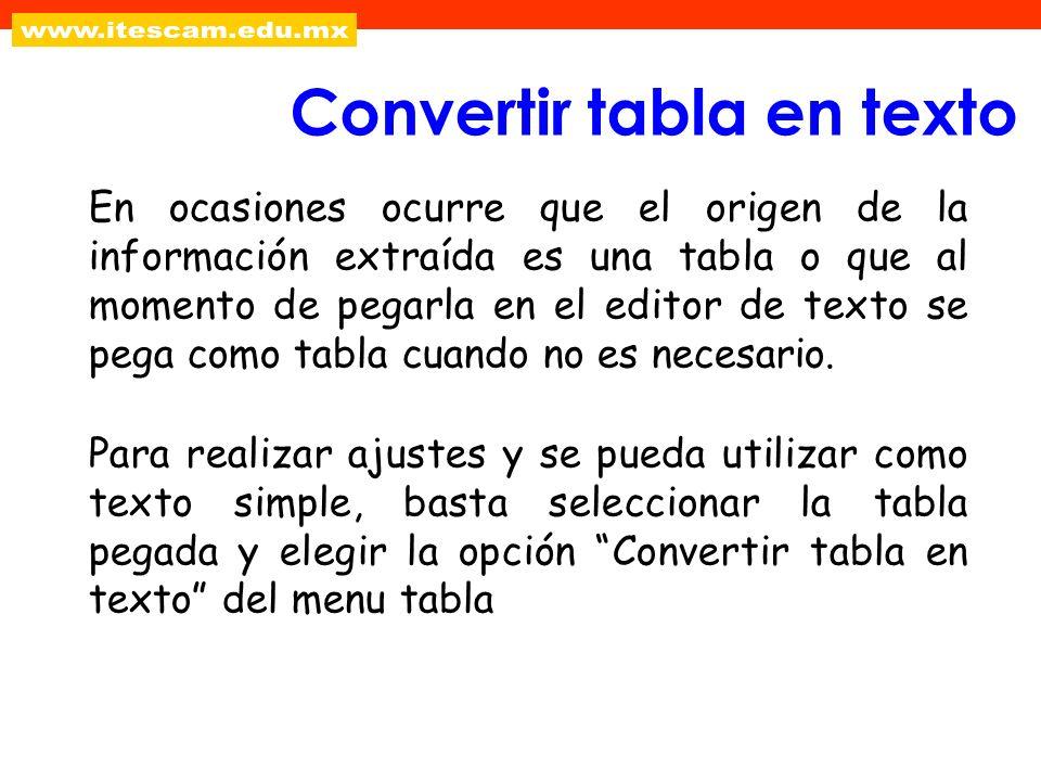En ocasiones ocurre que el origen de la información extraída es una tabla o que al momento de pegarla en el editor de texto se pega como tabla cuando