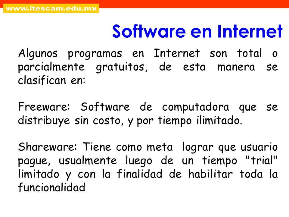 Algunos programas en Internet son total o parcialmente gratuitos, de esta manera se clasifican en: Freeware: Software de computadora que se distribuye
