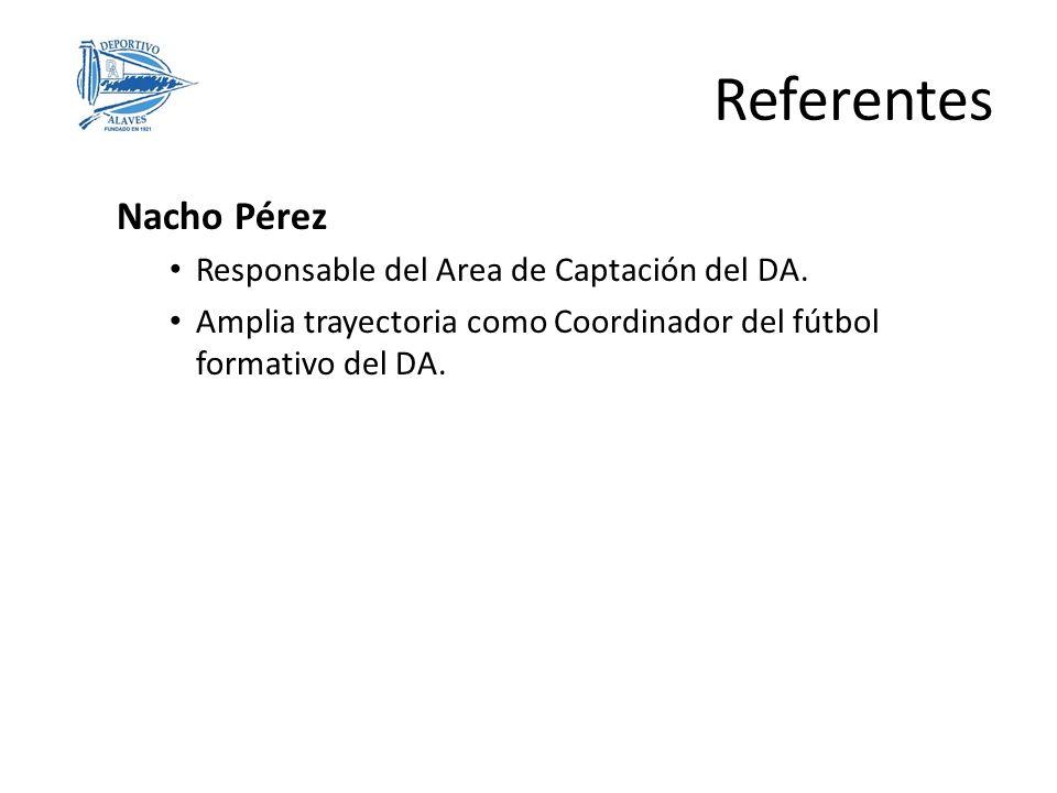 Referentes Nacho Pérez Responsable del Area de Captación del DA. Amplia trayectoria como Coordinador del fútbol formativo del DA.