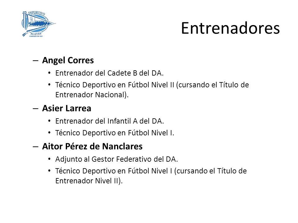 Entrenadores – Angel Corres Entrenador del Cadete B del DA. Técnico Deportivo en Fútbol Nivel II (cursando el Título de Entrenador Nacional). – Asier