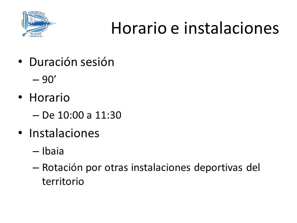 Duración sesión – 90 Horario – De 10:00 a 11:30 Instalaciones – Ibaia – Rotación por otras instalaciones deportivas del territorio Horario e instalaci
