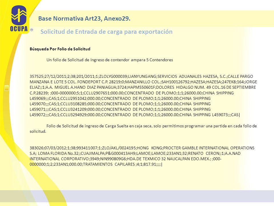Búsqueda Por Folio de Solicitud Un folio de Solicitud de Ingreso de contendor ampara 5 Contendores 357525;27/12/2011;2;38;201/2011;1;ZLOLYG000039;LIANYUNGANG;SERVICIOS ADUANALES HAZESA, S.C.;CALLE PARGO MANZANA E LOTE 5 COL.