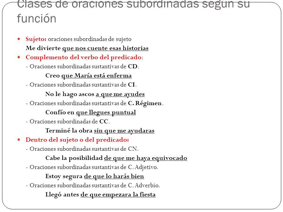 Clases de oraciones subordinadas según su función Sujeto: oraciones subordinadas de sujeto Me divierte que nos cuente esas historias Complemento del v