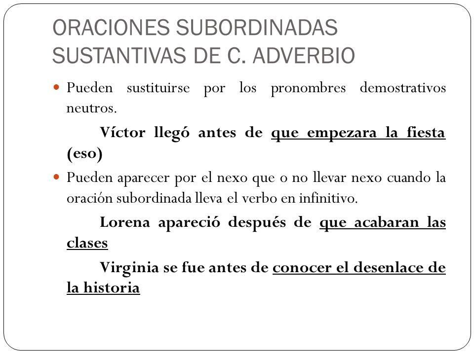 ORACIONES SUBORDINADAS SUSTANTIVAS DE C. ADVERBIO Pueden sustituirse por los pronombres demostrativos neutros. Víctor llegó antes de que empezara la f