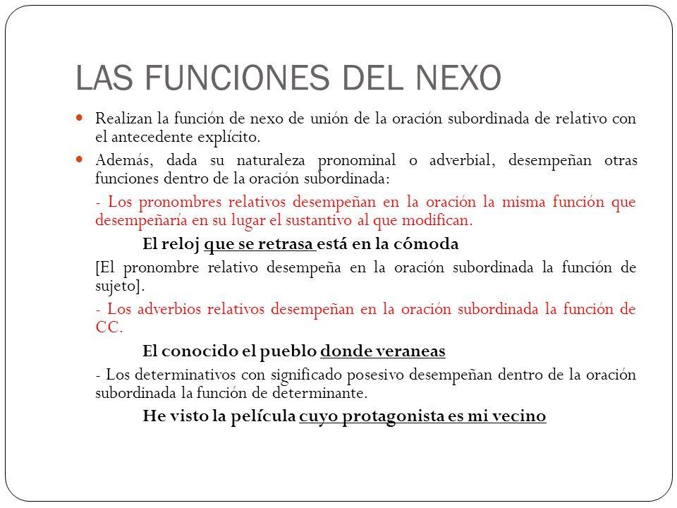 LAS FUNCIONES DEL NEXO Realizan la función de nexo de unión de la oración subordinada de relativo con el antecedente explícito. Además, dada su natura