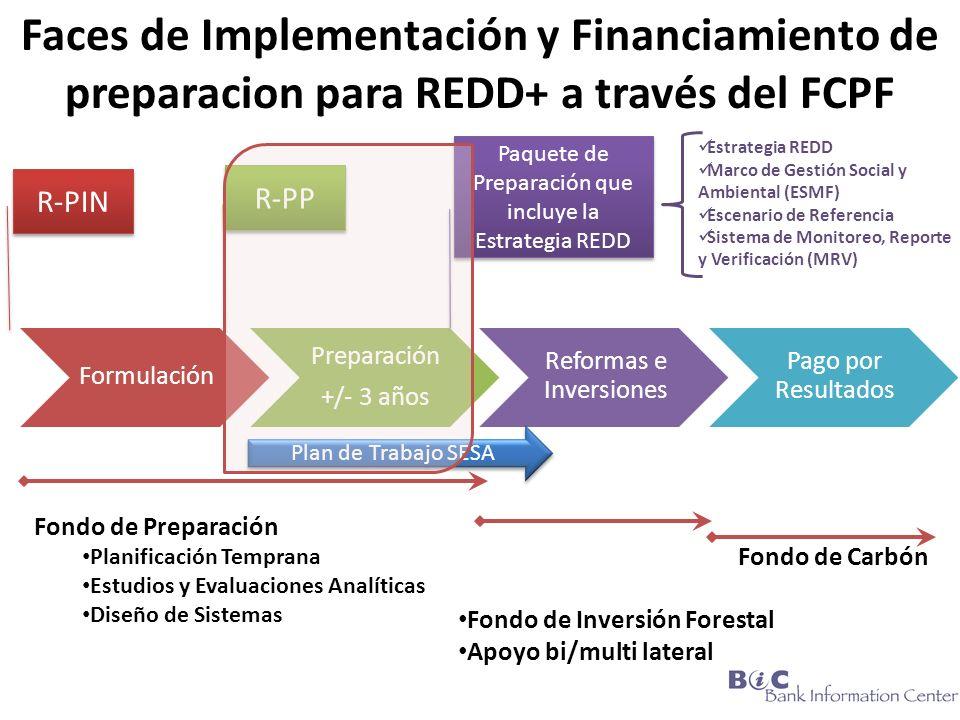 Formulación Preparación +/- 3 años Reformas e Inversiones Pago por Resultados Fondo de Preparación Planificación Temprana Estudios y Evaluaciones Analíticas Diseño de Sistemas Fondo de Carbón Fondo de Inversión Forestal Apoyo bi/multi lateral R-PIN R-PP Paquete de Preparación que incluye la Estrategia REDD Faces de Implementación y Financiamiento de preparacion para REDD+ a través del FCPF Plan de Trabajo SESA Estrategia REDD Marco de Gestión Social y Ambiental (ESMF) Escenario de Referencia Sistema de Monitoreo, Reporte y Verificación (MRV)