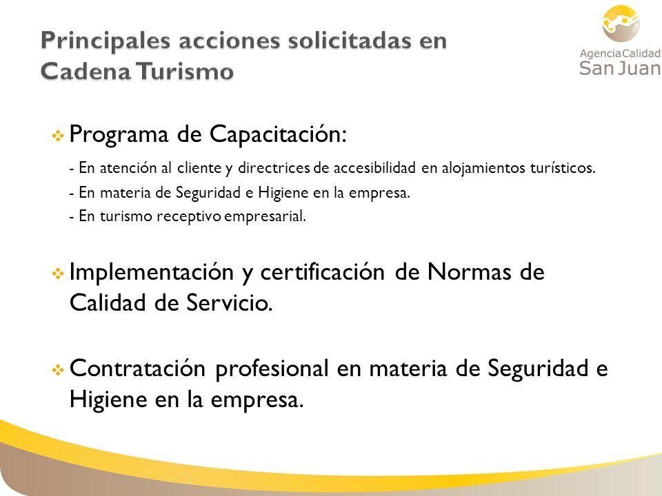 Programa de Capacitación: - En atención al cliente y directrices de accesibilidad en alojamientos turísticos. - En materia de Seguridad e Higiene en l