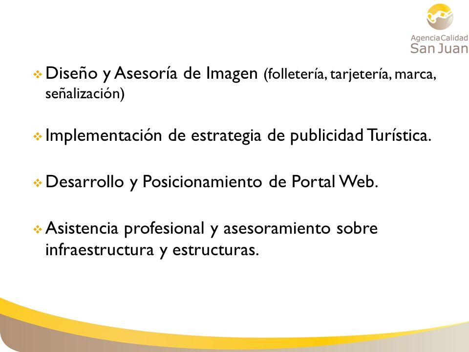 Diseño y Asesoría de Imagen (folletería, tarjetería, marca, señalización) Implementación de estrategia de publicidad Turística. Desarrollo y Posiciona