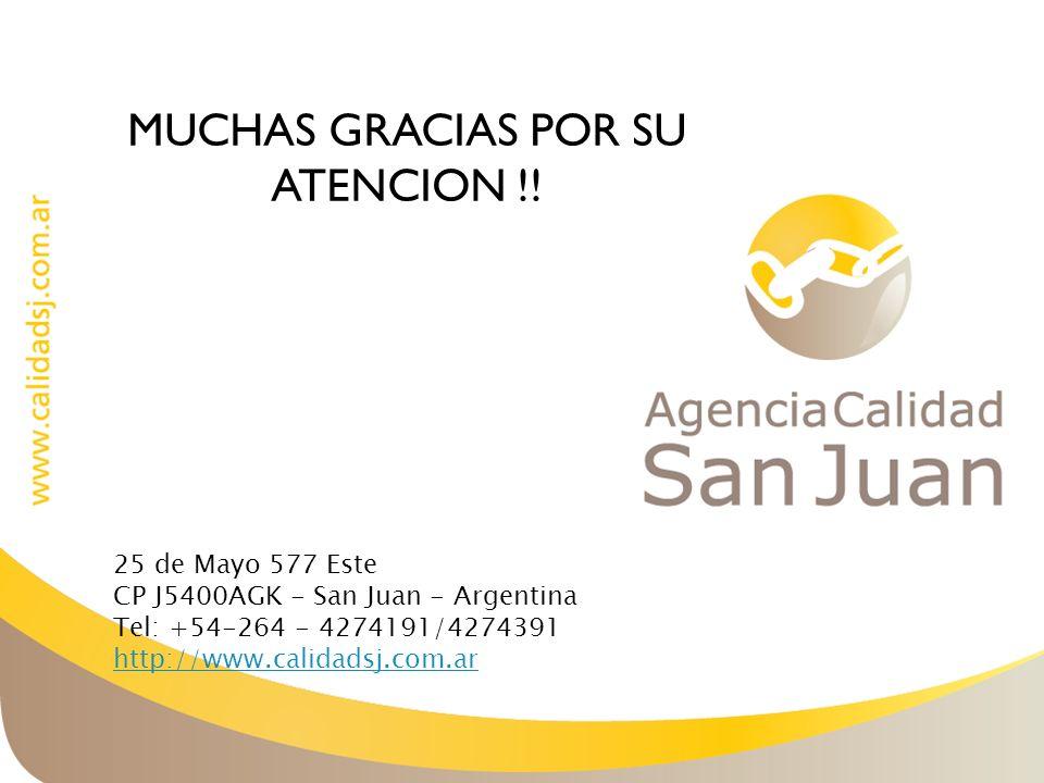 MUCHAS GRACIAS POR SU ATENCION !! 25 de Mayo 577 Este CP J5400AGK - San Juan - Argentina Tel: +54-264 - 4274191/4274391 http://www.calidadsj.com.ar