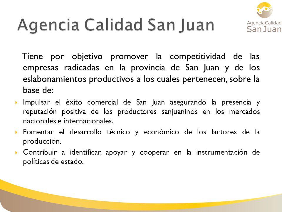 Tiene por objetivo promover la competitividad de las empresas radicadas en la provincia de San Juan y de los eslabonamientos productivos a los cuales pertenecen, sobre la base de: Impulsar el éxito comercial de San Juan asegurando la presencia y reputación positiva de los productores sanjuaninos en los mercados nacionales e internacionales.