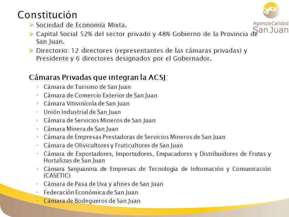 Sociedad de Economía Mixta. Capital Social 52% del sector privado y 48% Gobierno de la Provincia de San Juan. Directorio: 12 directores (representante