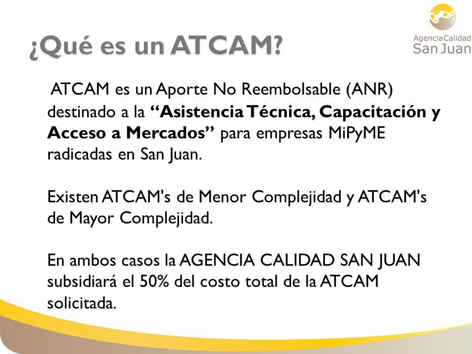 ATCAM es un Aporte No Reembolsable (ANR) destinado a la Asistencia Técnica, Capacitación y Acceso a Mercados para empresas MiPyME radicadas en San Jua