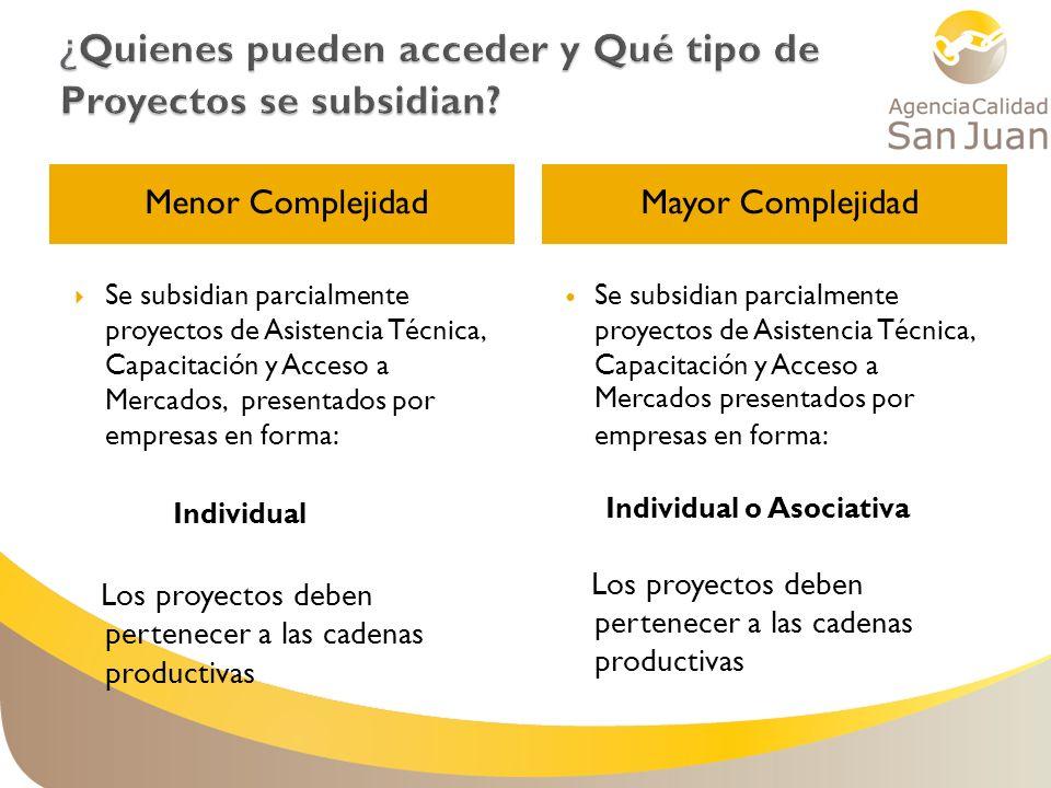 Menor ComplejidadMayor Complejidad Se subsidian parcialmente proyectos de Asistencia Técnica, Capacitación y Acceso a Mercados, presentados por empres