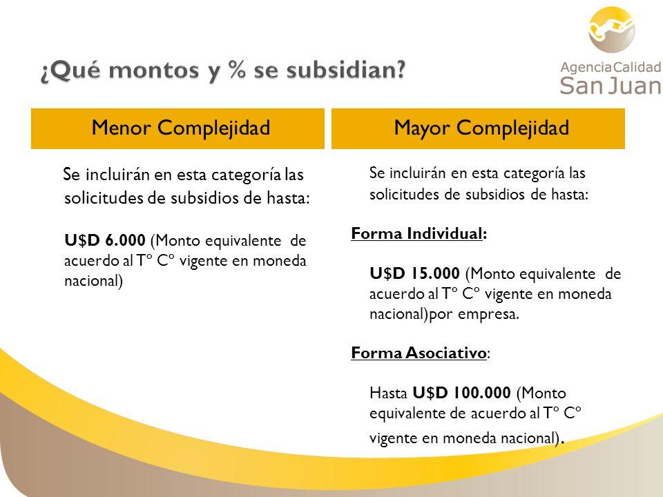 Menor ComplejidadMayor Complejidad Se incluirán en esta categoría las solicitudes de subsidios de hasta: U$D 6.000 (Monto equivalente de acuerdo al Tº
