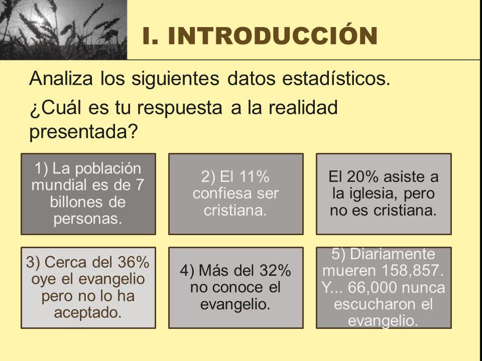 1) La población mundial es de 7 billones de personas. 2) El 11% confiesa ser cristiana. El 20% asiste a la iglesia, pero no es cristiana. 3) Cerca del