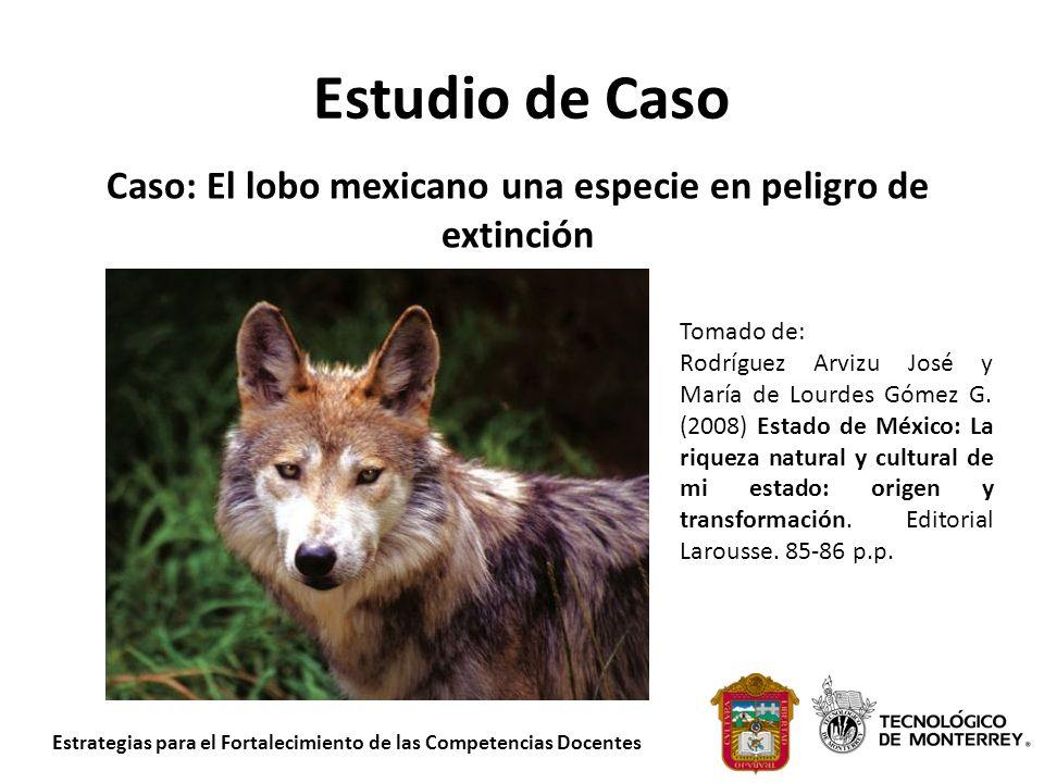 Estudio de Caso Caso: El lobo mexicano una especie en peligro de extinción Tomado de: Rodríguez Arvizu José y María de Lourdes Gómez G. (2008) Estado
