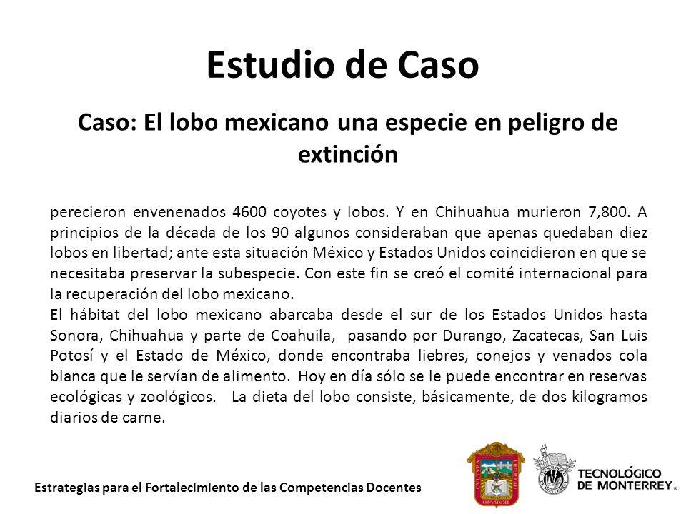 Estrategias para el Fortalecimiento de las Competencias Docentes Estudio de Caso Caso: El lobo mexicano una especie en peligro de extinción perecieron