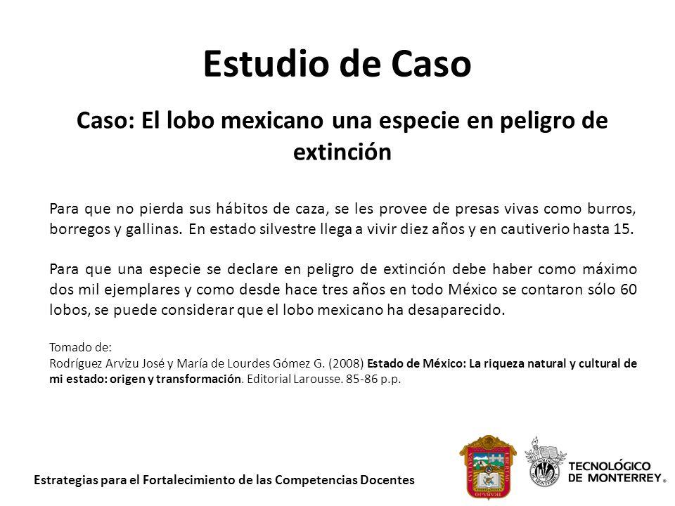 Estrategias para el Fortalecimiento de las Competencias Docentes Estudio de Caso Caso: El lobo mexicano una especie en peligro de extinción Para que n