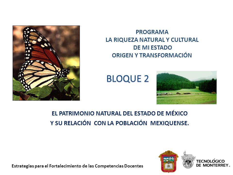 Estrategias para el Fortalecimiento de las Competencias Docentes BLOQUE 2 EL PATRIMONIO NATURAL DEL ESTADO DE MÉXICO Y SU RELACIÓN CON LA POBLACIÓN ME