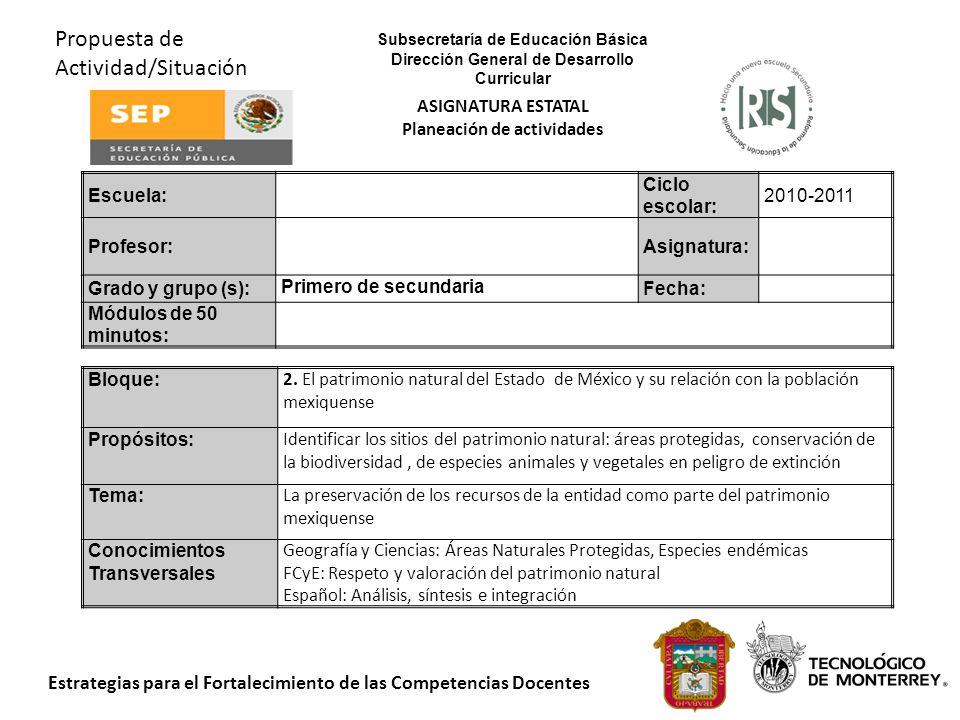 Estrategias para el Fortalecimiento de las Competencias Docentes Propuesta de Actividad/Situación Bloque: 2. El patrimonio natural del Estado de Méxic