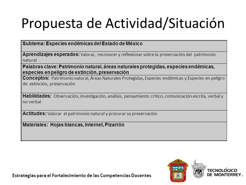 Estrategias para el Fortalecimiento de las Competencias Docentes Propuesta de Actividad/Situación Subtema: Especies endémicas del Estado de México Apr