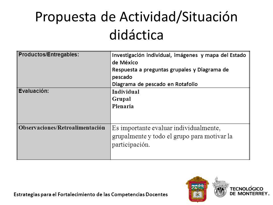 Estrategias para el Fortalecimiento de las Competencias Docentes Propuesta de Actividad/Situación didáctica Productos/Entregables: Investigación indiv
