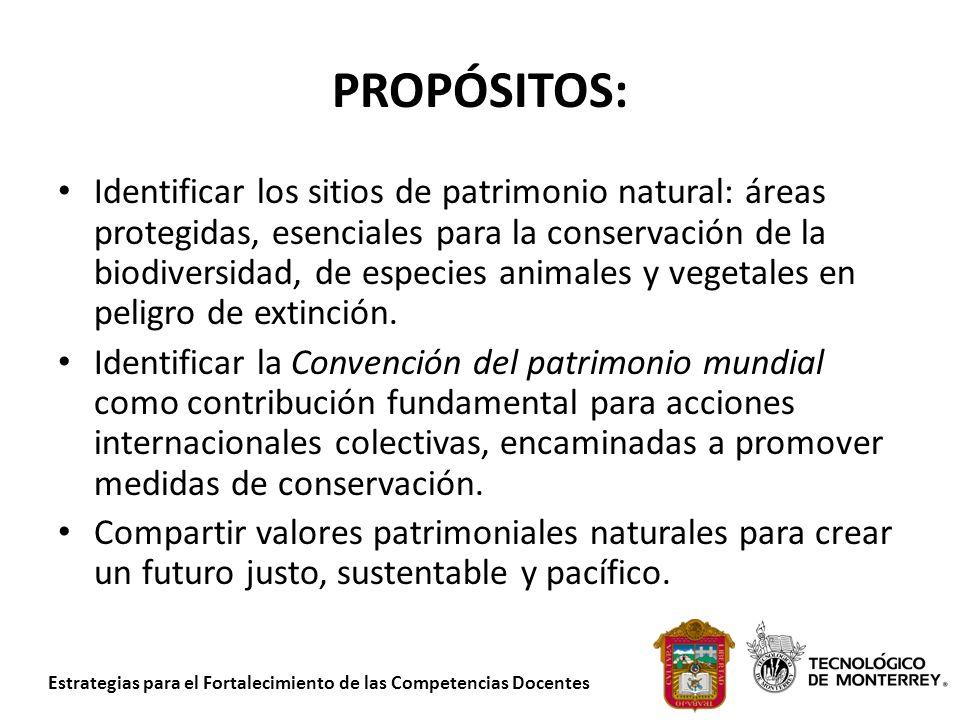 Estrategias para el Fortalecimiento de las Competencias Docentes PROPÓSITOS: Identificar los sitios de patrimonio natural: áreas protegidas, esenciale