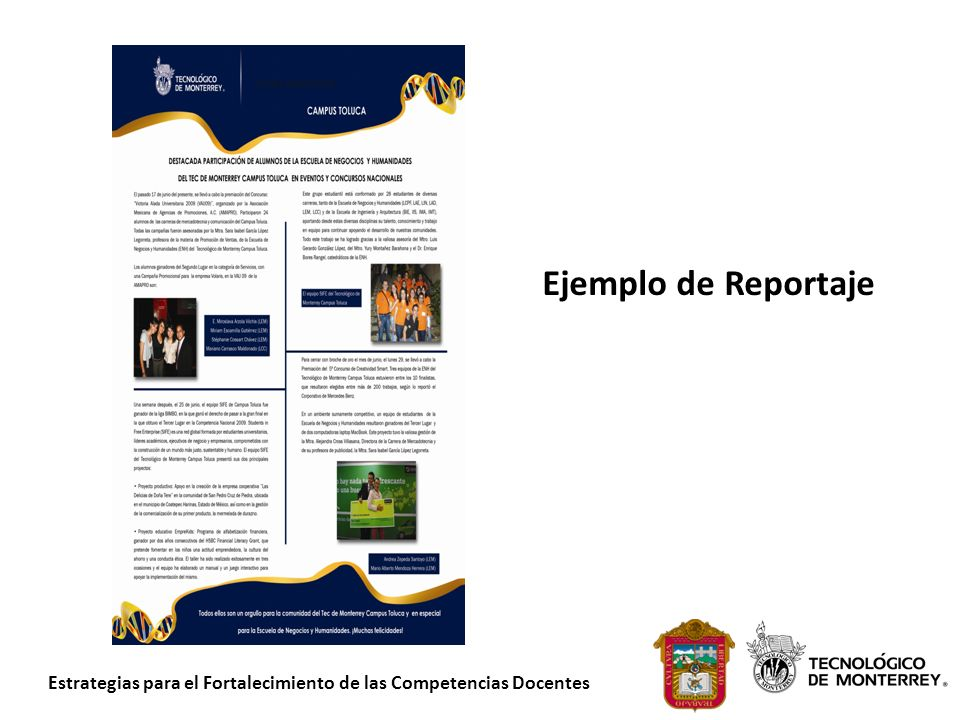 Estrategias para el Fortalecimiento de las Competencias Docentes Ejemplo de Reportaje