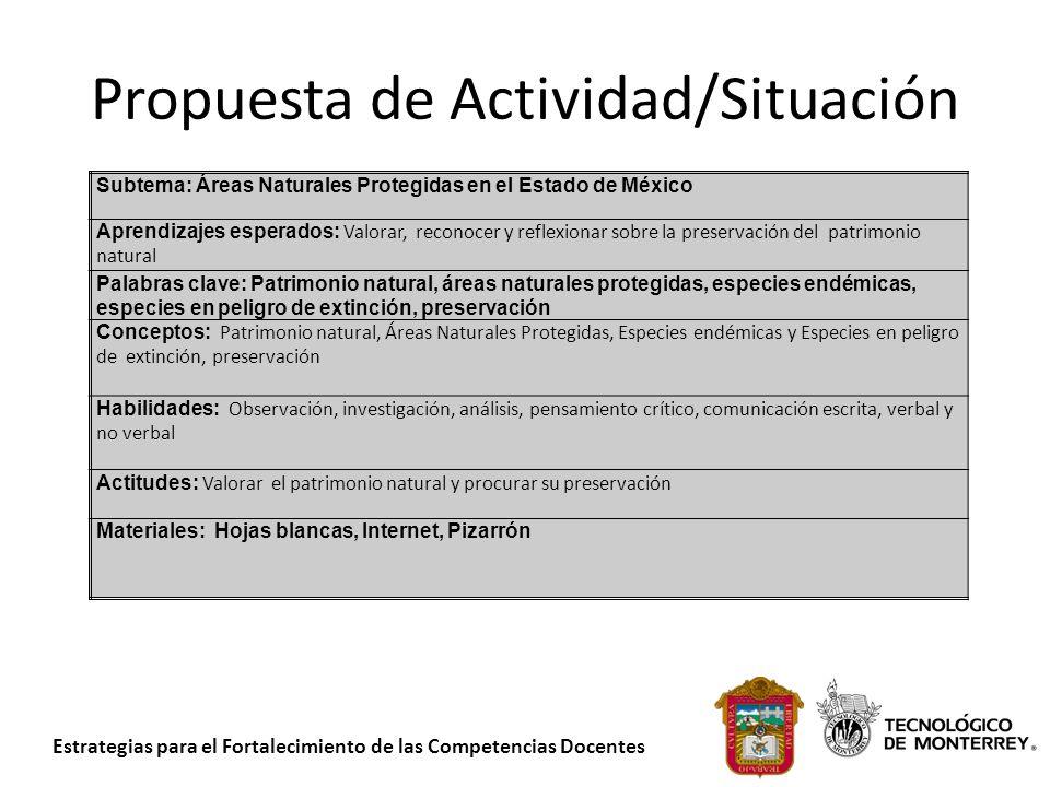 Estrategias para el Fortalecimiento de las Competencias Docentes Propuesta de Actividad/Situación Subtema: Áreas Naturales Protegidas en el Estado de