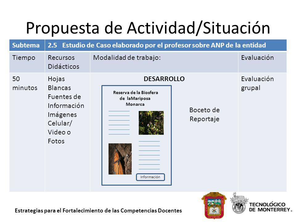 Estrategias para el Fortalecimiento de las Competencias Docentes Propuesta de Actividad/Situación Subtema2.5 Estudio de Caso elaborado por el profesor