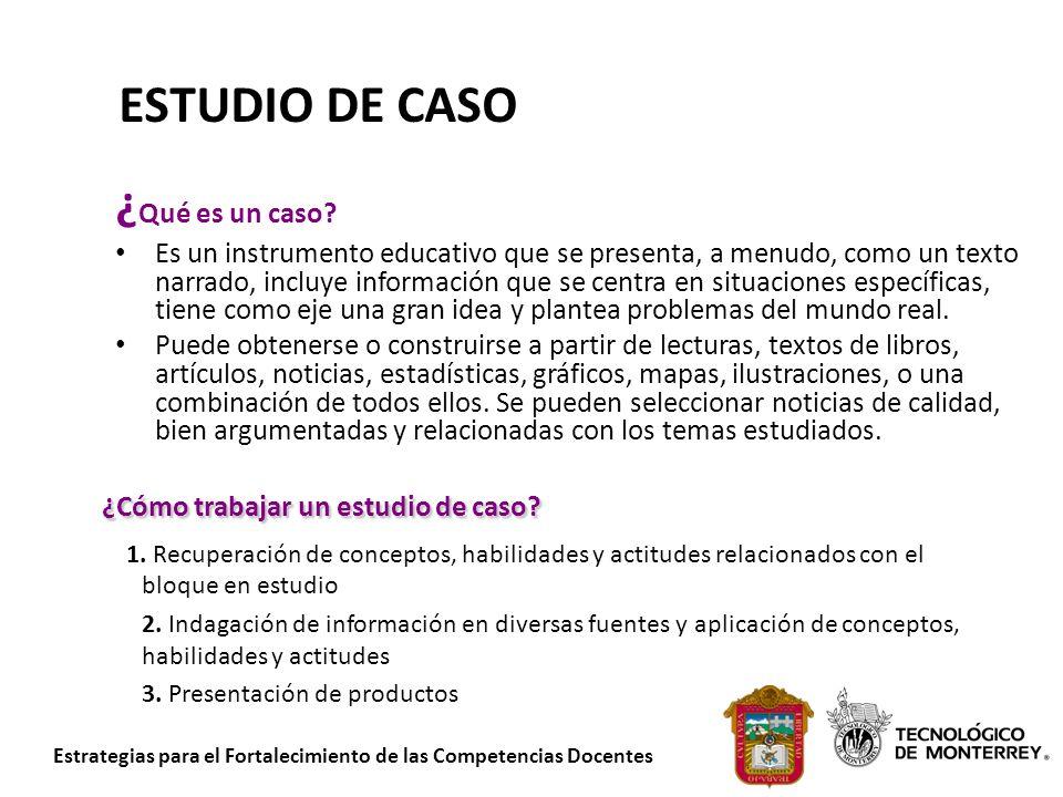 Estrategias para el Fortalecimiento de las Competencias Docentes ¿Cómo trabajar un estudio de caso? 1. Recuperación de conceptos, habilidades y actitu
