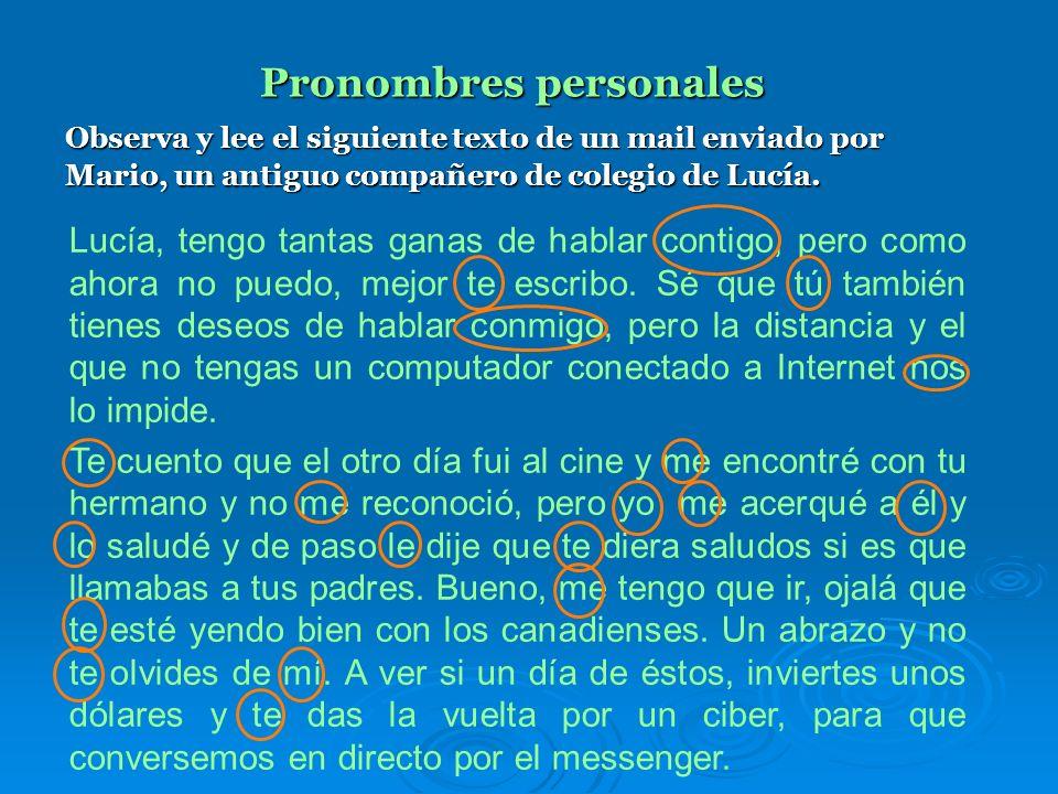 Pronombres personales Por lo tanto, el uso de los pronombres personales se determina a partir de la situación comunicativa y tienen la función de refe