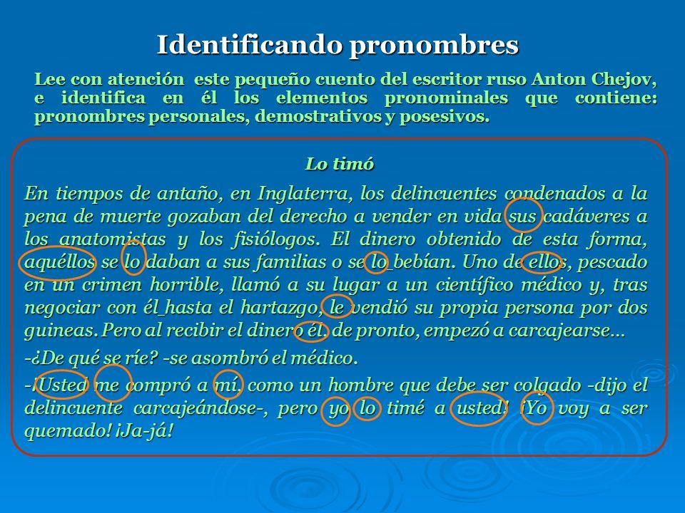 Pronombres posesivos Los pronombres posesivos indican la relación de posesión o pertenencia con las personas gramaticales (El mapa es suyo). A veces e