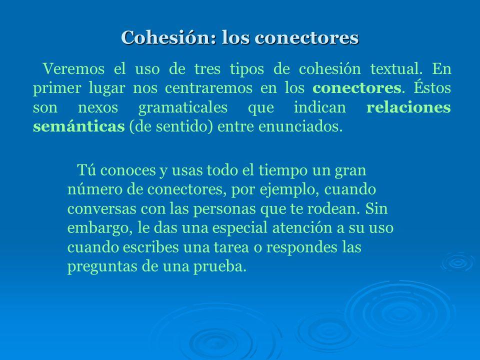 Cohesión: los conectores Veremos el uso de tres tipos de cohesión textual.