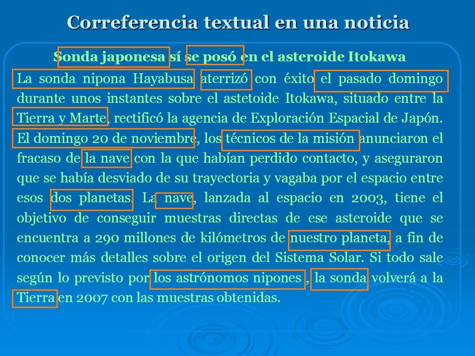 Cohesión: La correferencia Como los conectores, la correferencia es otro mecanismo de cohesión textual y el conocimiento y manejo de su adecuado uso t