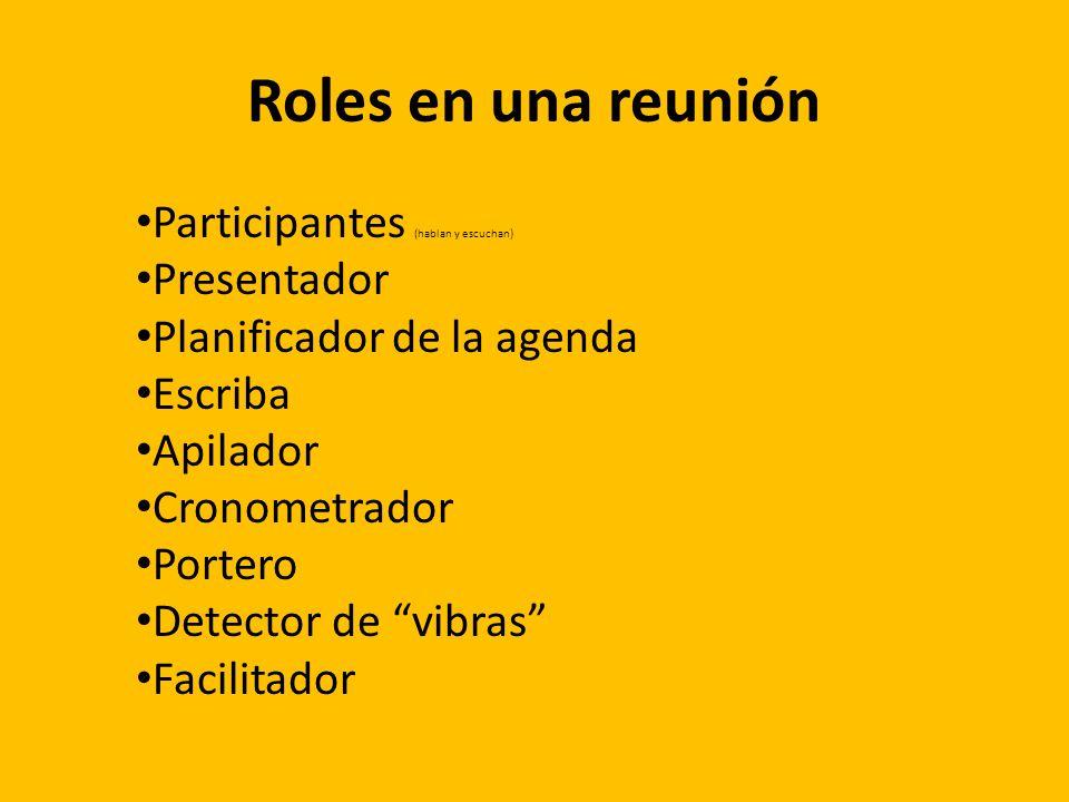 Roles en una reunión Participantes (hablan y escuchan) Presentador Planificador de la agenda Escriba Apilador Cronometrador Portero Detector de vibras