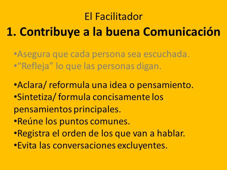 1. Contribuye a la buena Comunicación Asegura que cada persona sea escuchada. Refleja lo que las personas digan. Aclara/ reformula una idea o pensamie