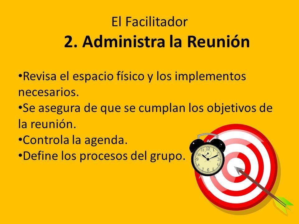 2. Administra la Reunión Revisa el espacio físico y los implementos necesarios. Se asegura de que se cumplan los objetivos de la reunión. Controla la