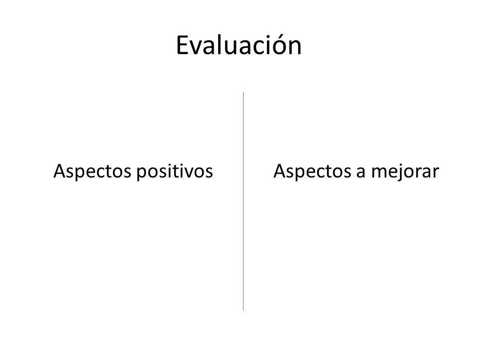 Evaluación Aspectos positivosAspectos a mejorar