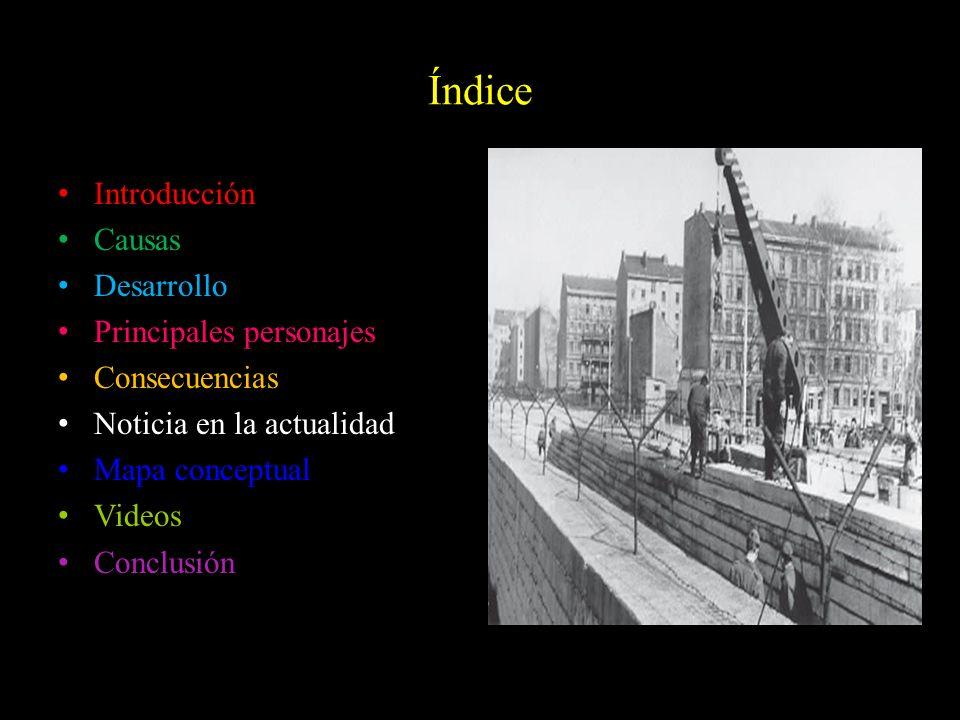 Índice Introducción Causas Desarrollo Principales personajes Consecuencias Noticia en la actualidad Mapa conceptual Videos Conclusión