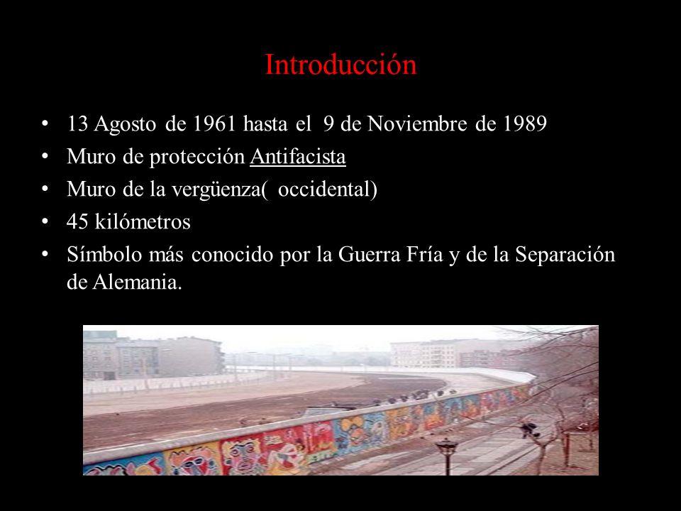 Introducción 13 Agosto de 1961 hasta el 9 de Noviembre de 1989 Muro de protección Antifacista Muro de la vergüenza( occidental) 45 kilómetros Símbolo