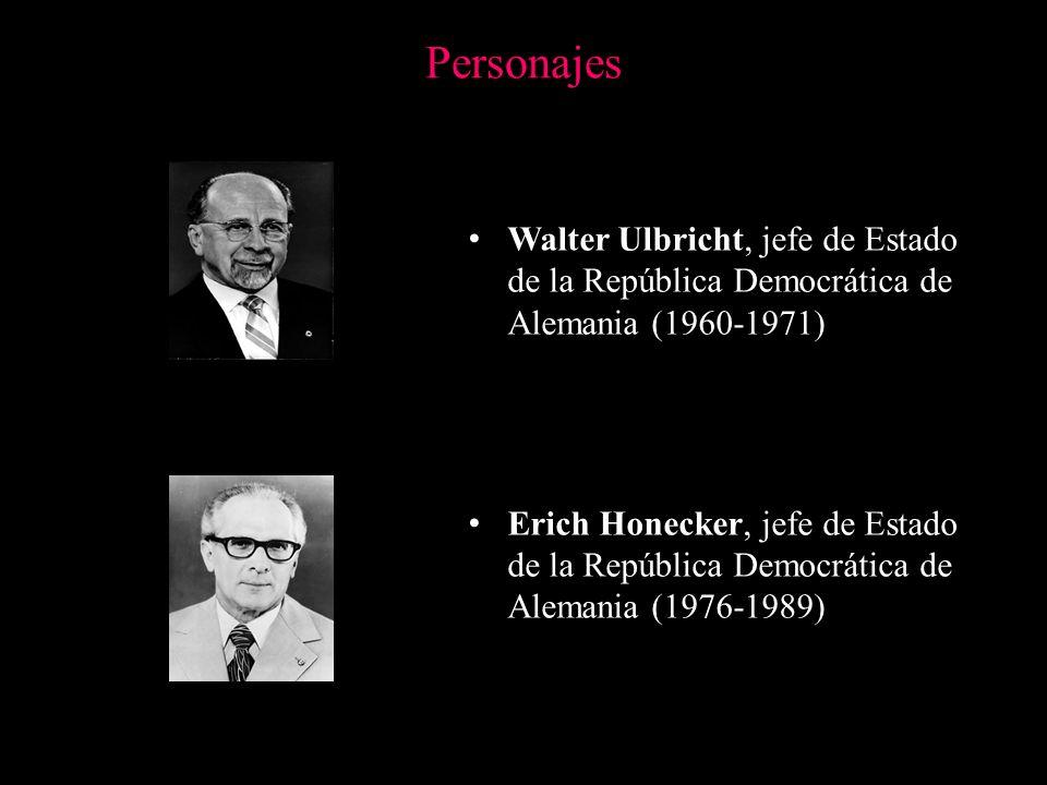 Personajes Walter Ulbricht, jefe de Estado de la República Democrática de Alemania (1960-1971) Erich Honecker, jefe de Estado de la República Democrát