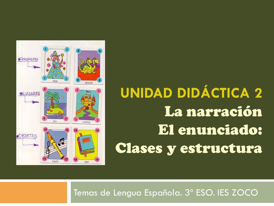 UNIDAD DIDÁCTICA 2 La narración El enunciado: Clases y estructura Temas de Lengua Española. 3º ESO. IES ZOCO