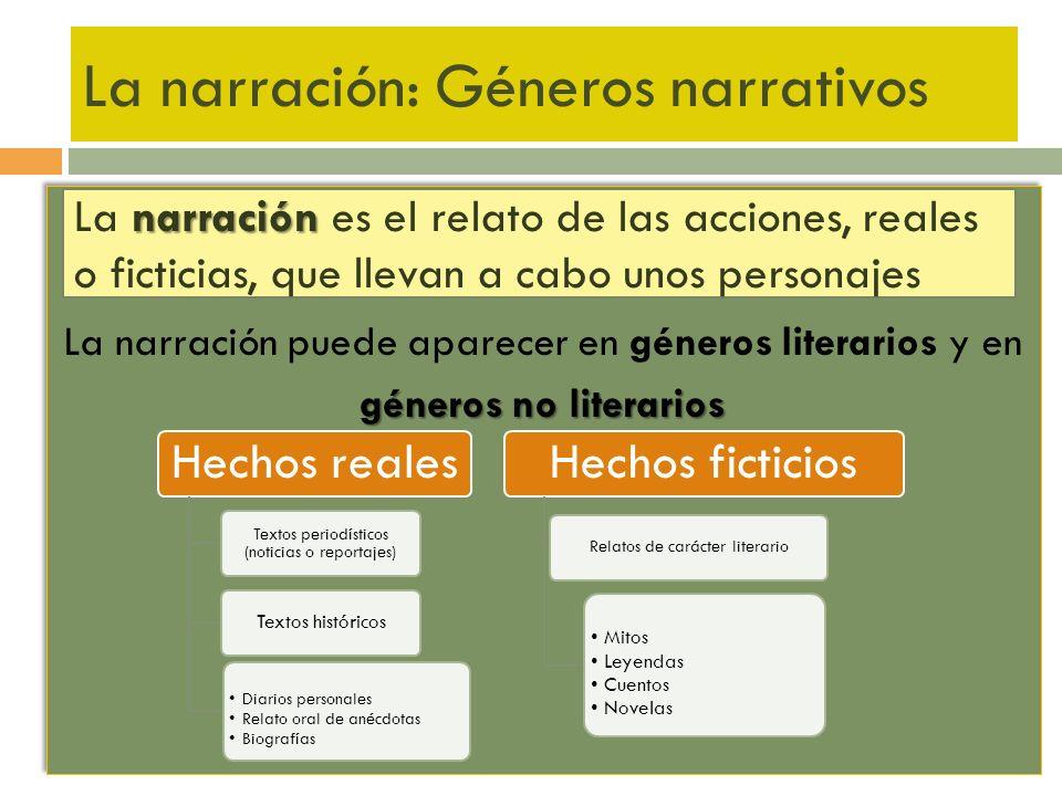 La narración: Géneros narrativos La narración puede aparecer en géneros literarios y en géneros no literarios La narración puede aparecer en géneros l